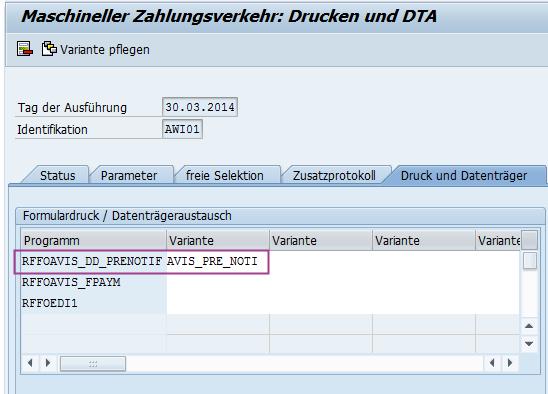 Variante SAP Lastschriftankündigung hinterlegen