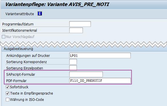 Formular SAP Lastschriftankündigung hinterlegen