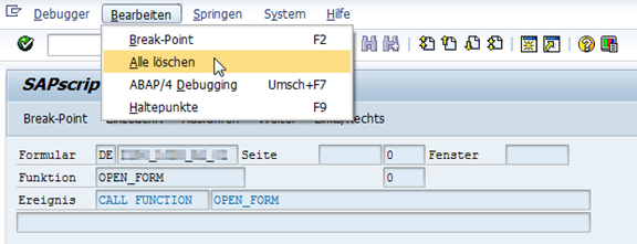 Debugger in SAPscript