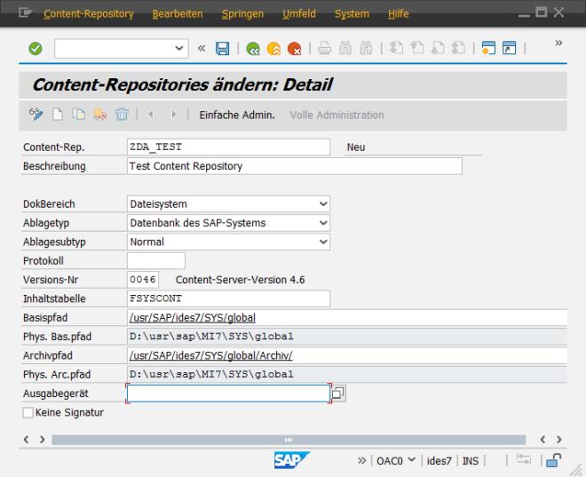 SAP Datenarchivierung - Anlegen eines Content Repositories