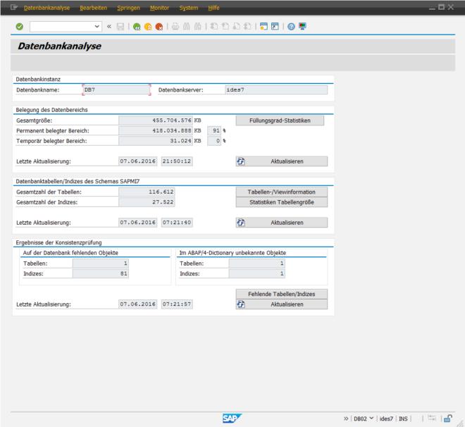 SAP Datenarchivierung - Datenbankanalyse