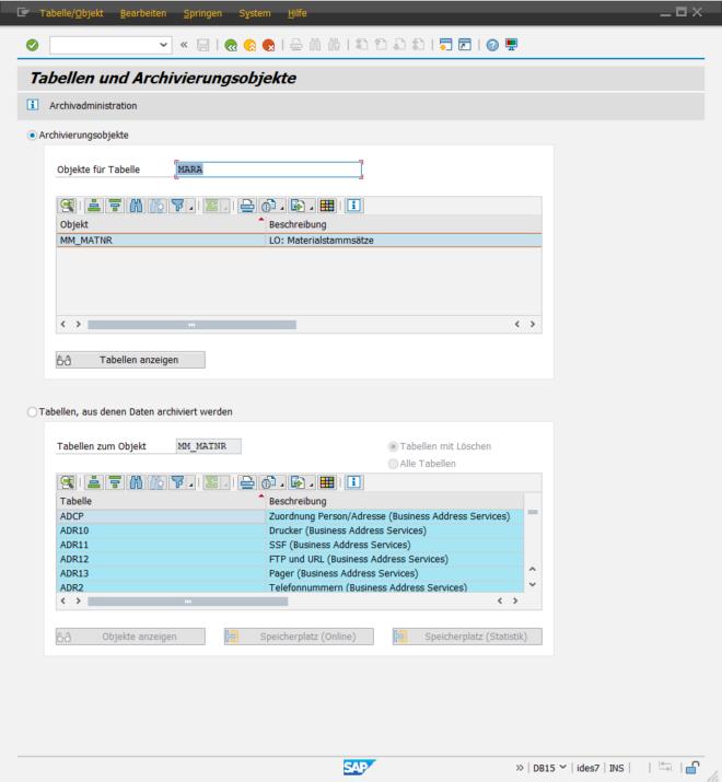 SAP Datenarchivierung - Tabellenarchivierungsobjekte