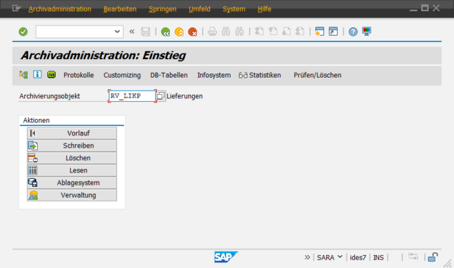 SAP-Datenarchivierung - Transaktion SARA