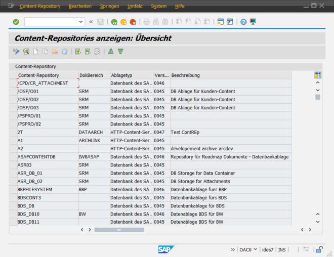 SAP Datenarchivierung - Transaktion OAC0