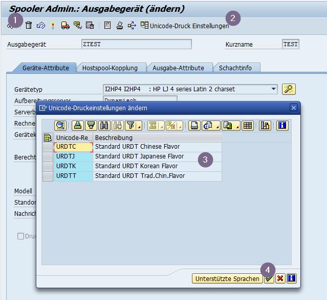 Fehlerhafte Zeichen Darstellung kann durch das Aktivieren von Unicode Printing Enabling (UPE) in der SPAD vermieden werden.
