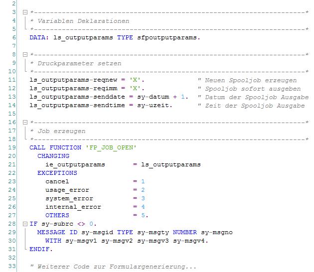 Parameter im Coding für die verzögerte Ausgabe von Adobe Formularen