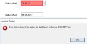 Fehlgeschlagene Validierung des Datums
