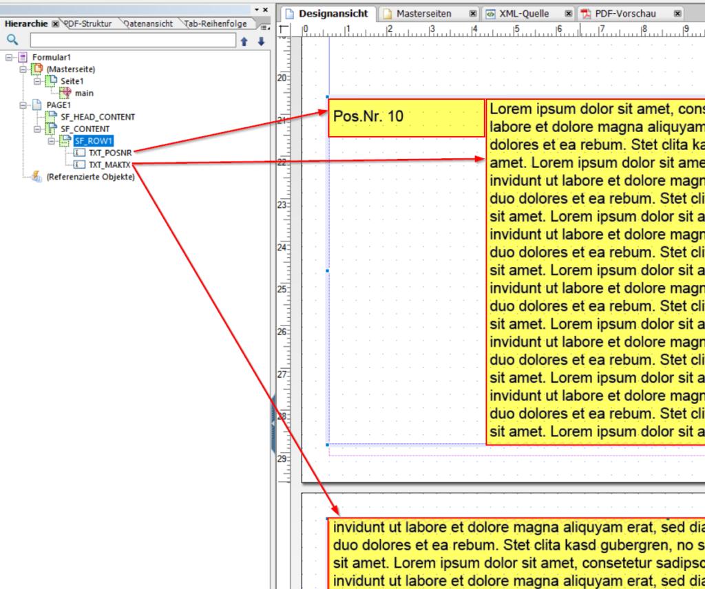 Ein Subform enthält zwei Textelemente. Eins mit der Positionsnummer, ein zweites mit dem Langtext.