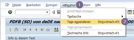 SE63 Tags Informationen zu einer Adobe Formular Übersetzung anzeigen