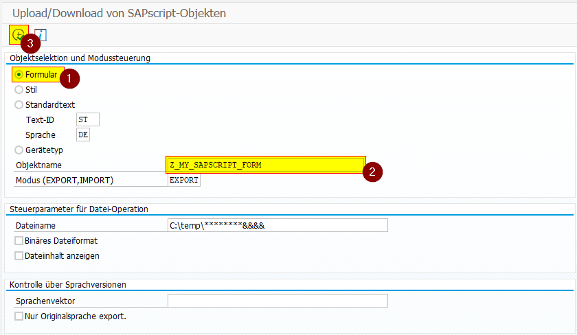 Um SAPscript Formulare vergleichen zu können, müssen wir die Formulare in Textdateien extrahieren.