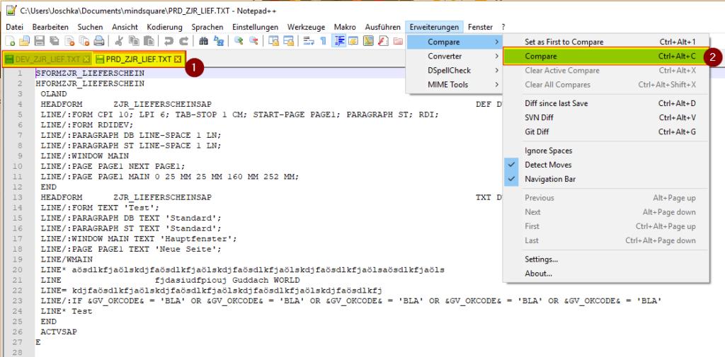 Um SAPscript Formulare vergleichen zu können, nutzen wir das Compare Plugin von Notepad++.