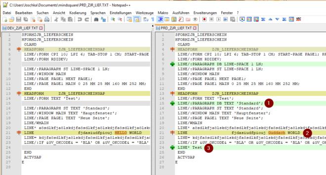 Ergebnis eines Notepad++ Comparison Plugin Vergleichs von zwei SAPscript Formularen.
