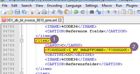 Smartforms wird in ein XML-Format mit generischen Knoten-Namen exportiert.