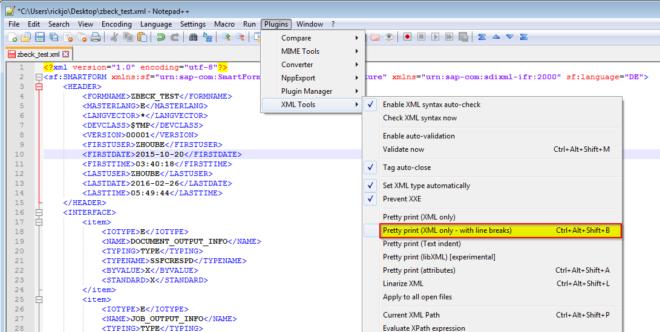 In Notepad++ lässt sich per Plugins -> XML Tools -> Pretty print der XML-String in Zeilen umbrechen