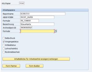 OID1, Customizing von Arbeitspapieren
