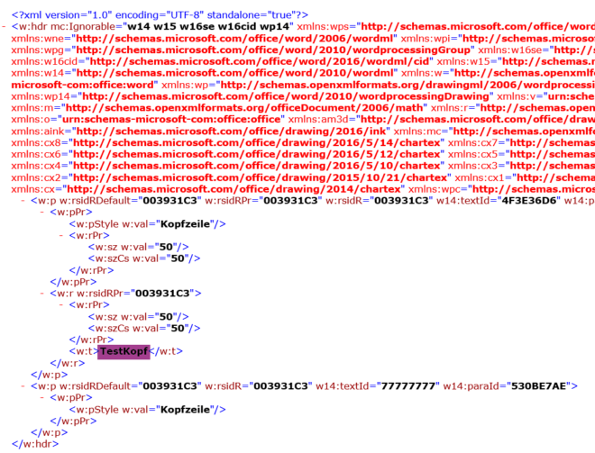 Header XML
