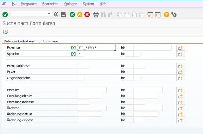 SE71: SAPscript - Suche nach Formularen (2)