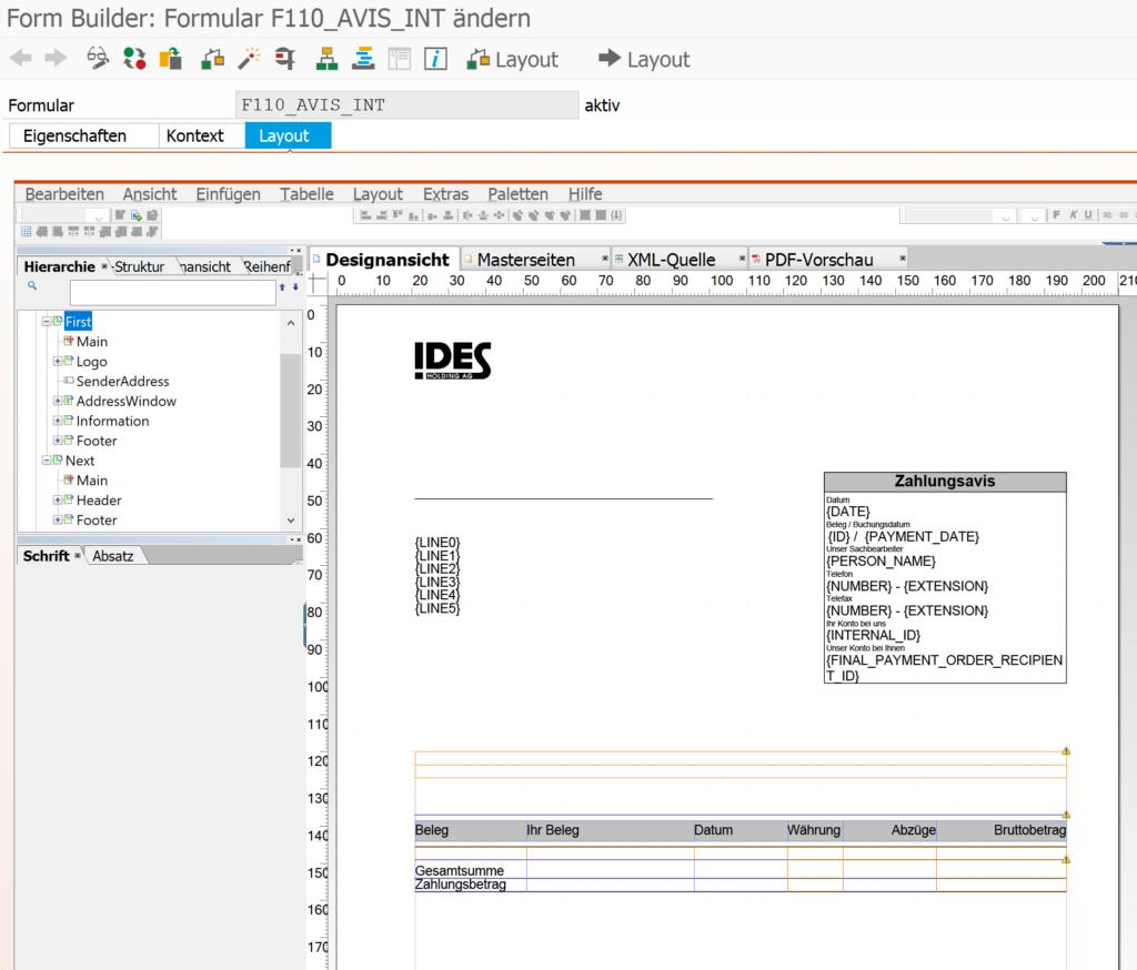 Zahlungsavis auf Adobe Forms umstellen