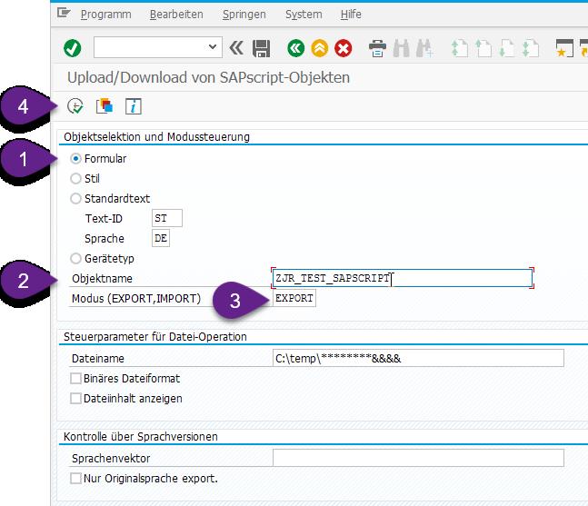 Report RSTXSCRP lässt Sie SAPscript Layouts runterladen