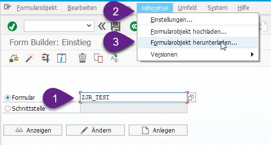 In Transaktion SFP können Sie per Hilfsmittel [1] das Formularlayout runterladen [2].