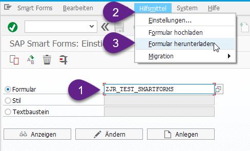 In Transaktion Smartforms können Sie über Hilfsmittel [1] das Formularlayout runterladen [2].