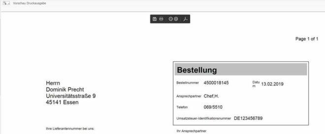 SAP Bestellung