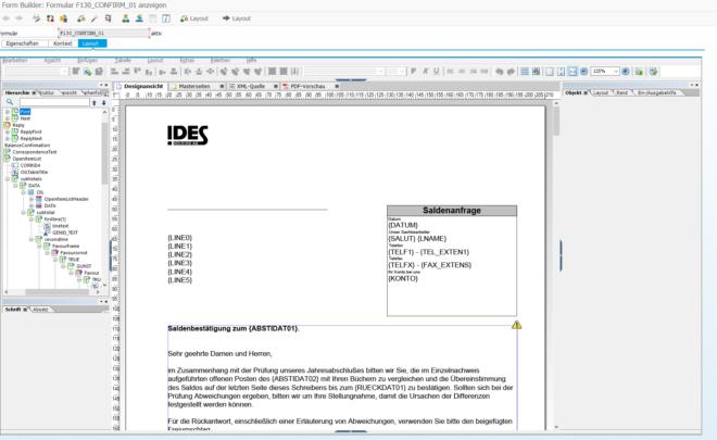 Saldenbestätigung auf Adobe Forms umstellen