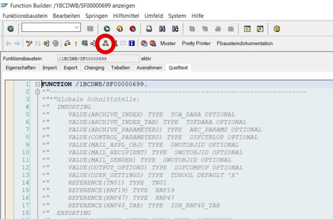 Hier hilft die Tastenkombination Strg + Umsch + F5 (Objektliste anzeigen); so können Sie auf alle Dateien, die im Zusammenhang mit dem Baustein stehen, zugreifen.