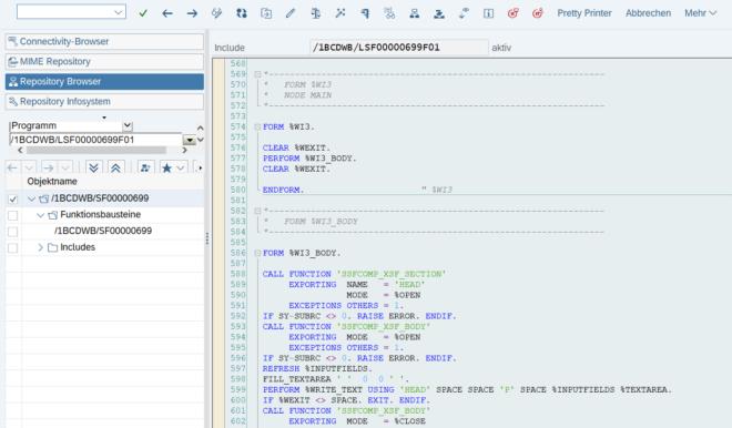 Codebeispiel eines aus einem SAP Smartform generierten Funktionsbaustein