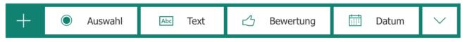 Die vier verschiedenen Fragetypen bei Microsoft Forms