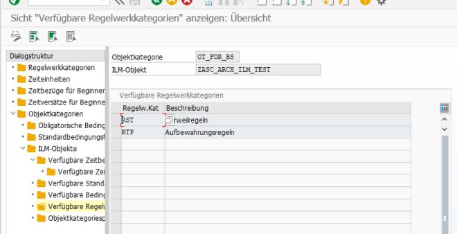 Transaktion IRM_CUST - Regelwerkkategorie dem ILM-Objekt zuordnen