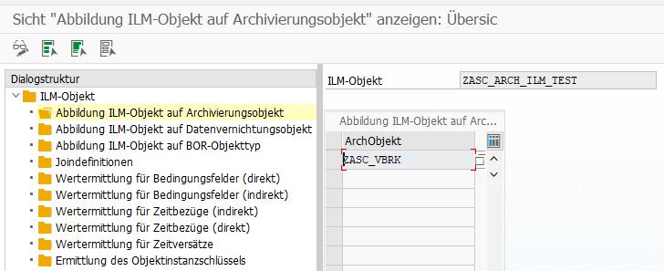 Transaktion IRM_CUST - ILM-Objekt zu Archivierungsobjekt zuordnen