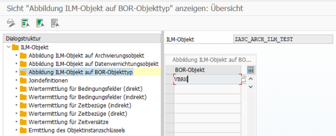 Transaktion IRM_CUST - Zuordnung ILM-Objekt zu BOR-Objekt