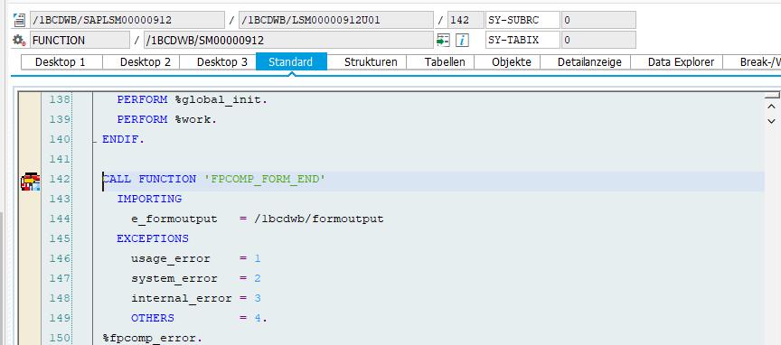 Abb. 3 - Aufruf von 'FPCOMP_FORM_END' in der Formularschnittstelle
