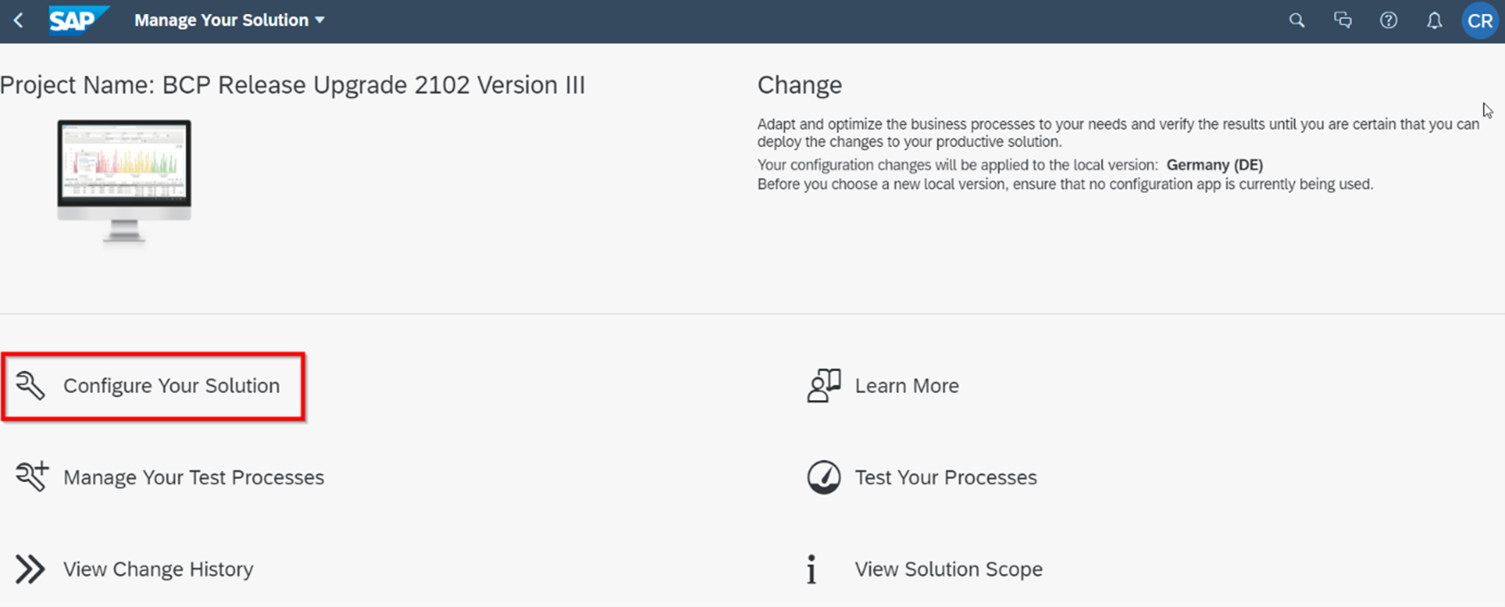 Abbildung 3: Manage your solution: Configure your solution